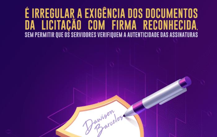 reconhecimento de firma. licitação. documentação.